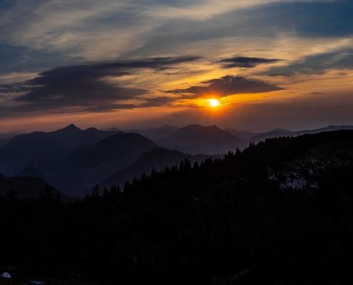 Sonnenuntergang auf dem Karkopf Berchtesgadener Land