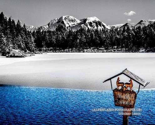 Hintersee und Hoher Göll im Winter © Volker Lesch - Alpenland Fotografie